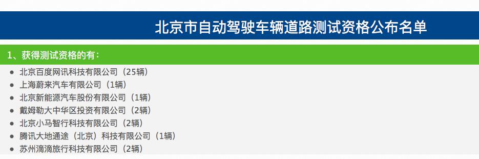 腾讯、滴滴、百度、蔚来等7家公司,获北京自动驾驶路测资格