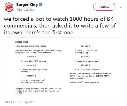 汉堡王发布一系列新广告戏谑人工智能