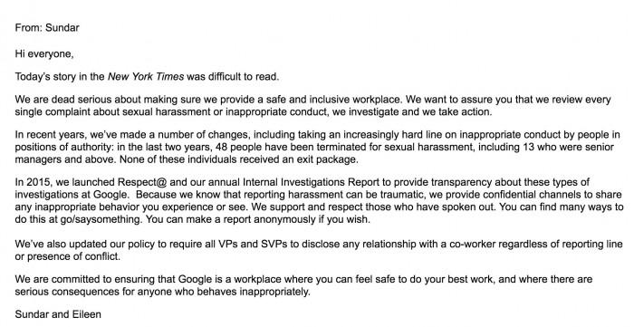 谷歌:公司过去两年有48名人员因性骚扰被解雇