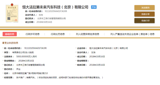 贾跃亭恒大仲裁完成前 恒大法拉第成立北京分公司