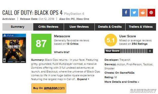 《使命召唤15:黑色行动4》首批媒体评分出炉 均分87一致好评