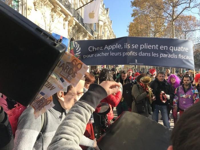 反全球化组织抗议苹果:逃税让欧洲失去了数十亿美元