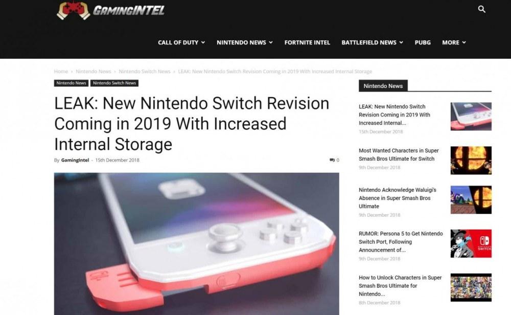 传任天堂将于2019年推新版Switch 优先增加内部存储