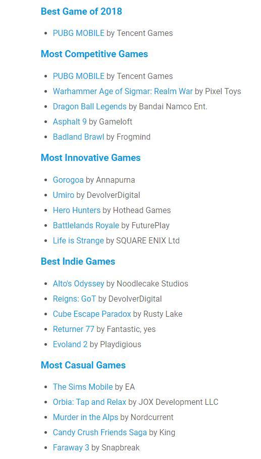 Google Play手游大奖:腾讯PUBG Mobile获年度最佳游戏