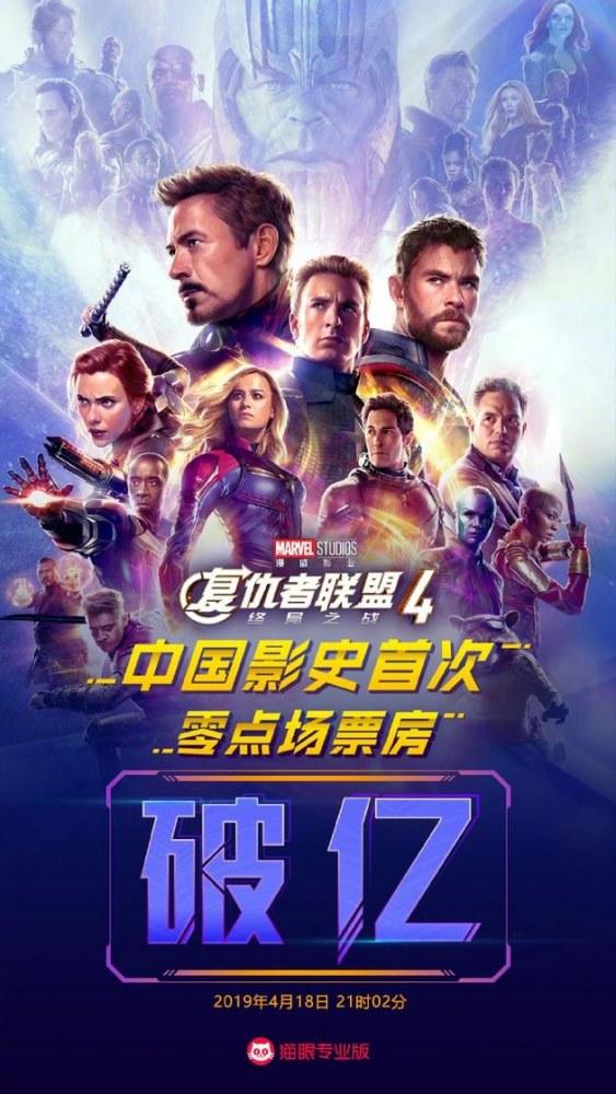 《复联4》成中国影史首次零点场破亿影片