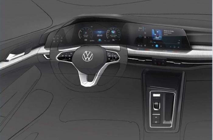 大众发第八代高尔夫新预告图:驾驶舱将变得更富科技感